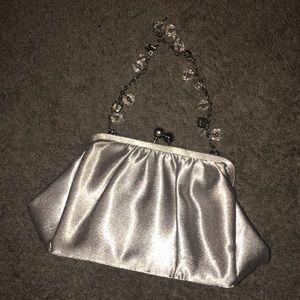 Vintage Le Regale Silver Satin Clutch/Mini Bag